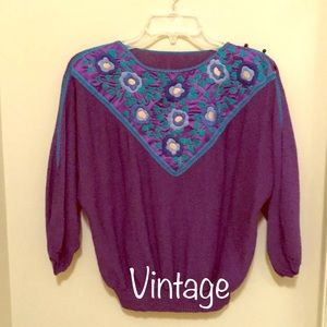 Vintage Sweaters - Gorgeous 1980s Vintage Purple Sweater